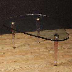 Tavolino di design italiano in cristallo e ottone