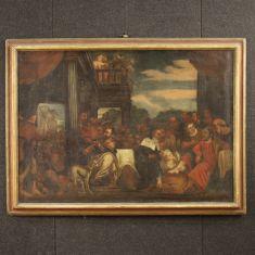 Quadro olio su tela scena biblica con cornice epoca 700