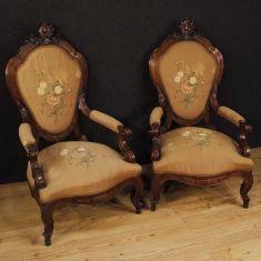 Mobili sedie siciliane in tessuto marrone epoca 800