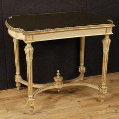 Tavolino in legno con piano in vetro epoca 900