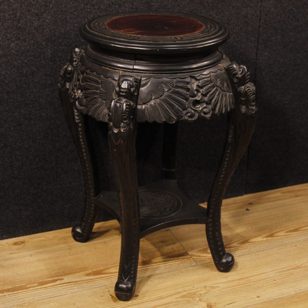 Chinese Wood Table ~ Chinese side table in carved wood