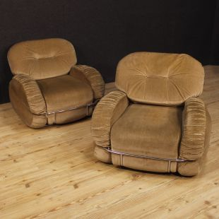 Pair of Italian design armchairs in velvet and metal