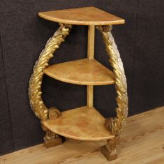 Mobile scaffale in legno con decori argentati epoca 900