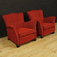 Mobili sedie salotto in tessuto rosso epoca 900