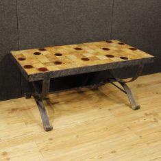 Tavolo basso da salotto in metallo con piano in ceramica e vetro epoca 900
