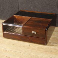 Tavolo basso in legno, vetro, metallo modernariato