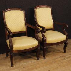 Mobili coppia sedie in legno e tessuto epoca 800