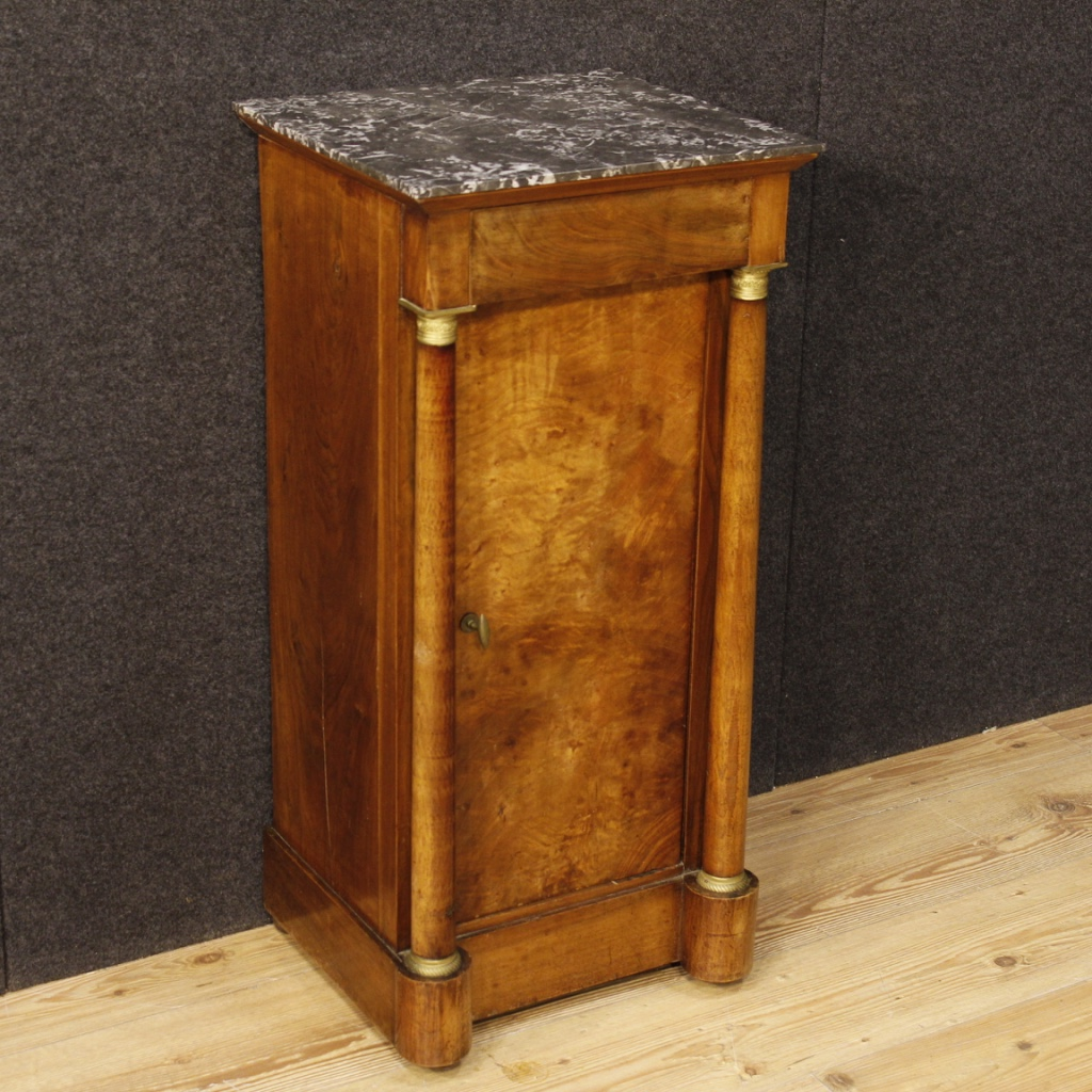 Antique bedside low table walnut wood furniture marble top