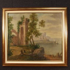 Quadro olio su tela con cornice dorata e dipinta epoca 900