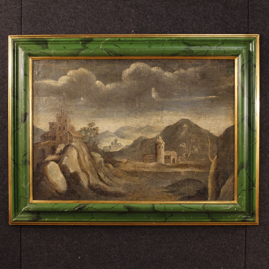Antique Italian Landscape With Architecture Painting From