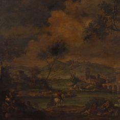 Quadro olio su tela cornice stile antico 900