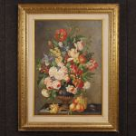 Italian still life painting on canvas Vase with flowers