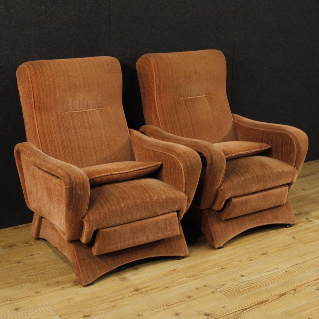 Details About Fauteuils Italien Design Couple Chaise Salon Style Zanuso Meubles Velours Rose