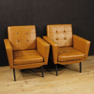 Pair of Italian design armchairs in faux leather and metal