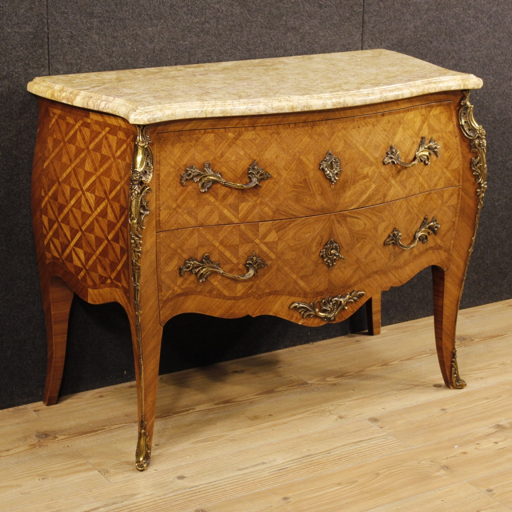 Dresser Inlaid Wood Antique Style Louis Xv Furniture Chest