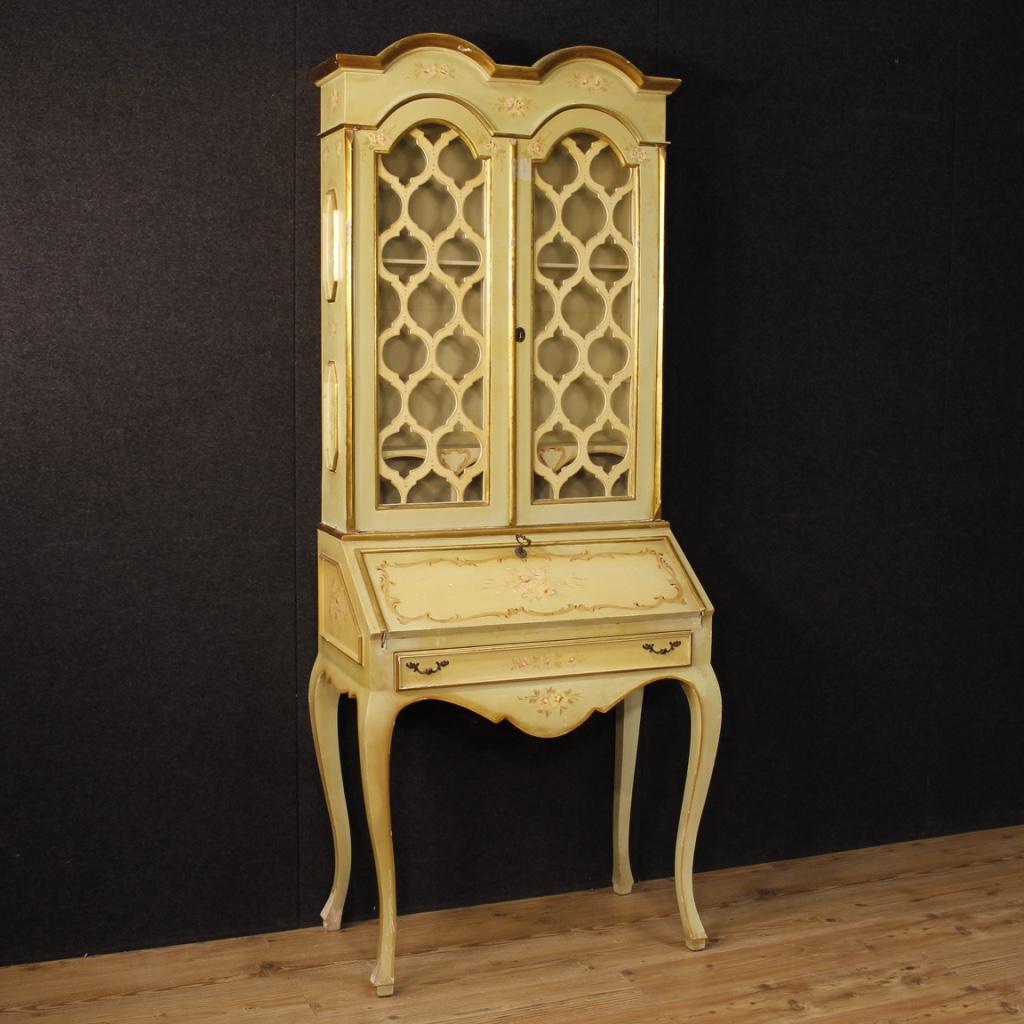 Trumeau italiano in legno laccato e dipinto