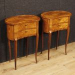 Pair of French inlaid bedside tables