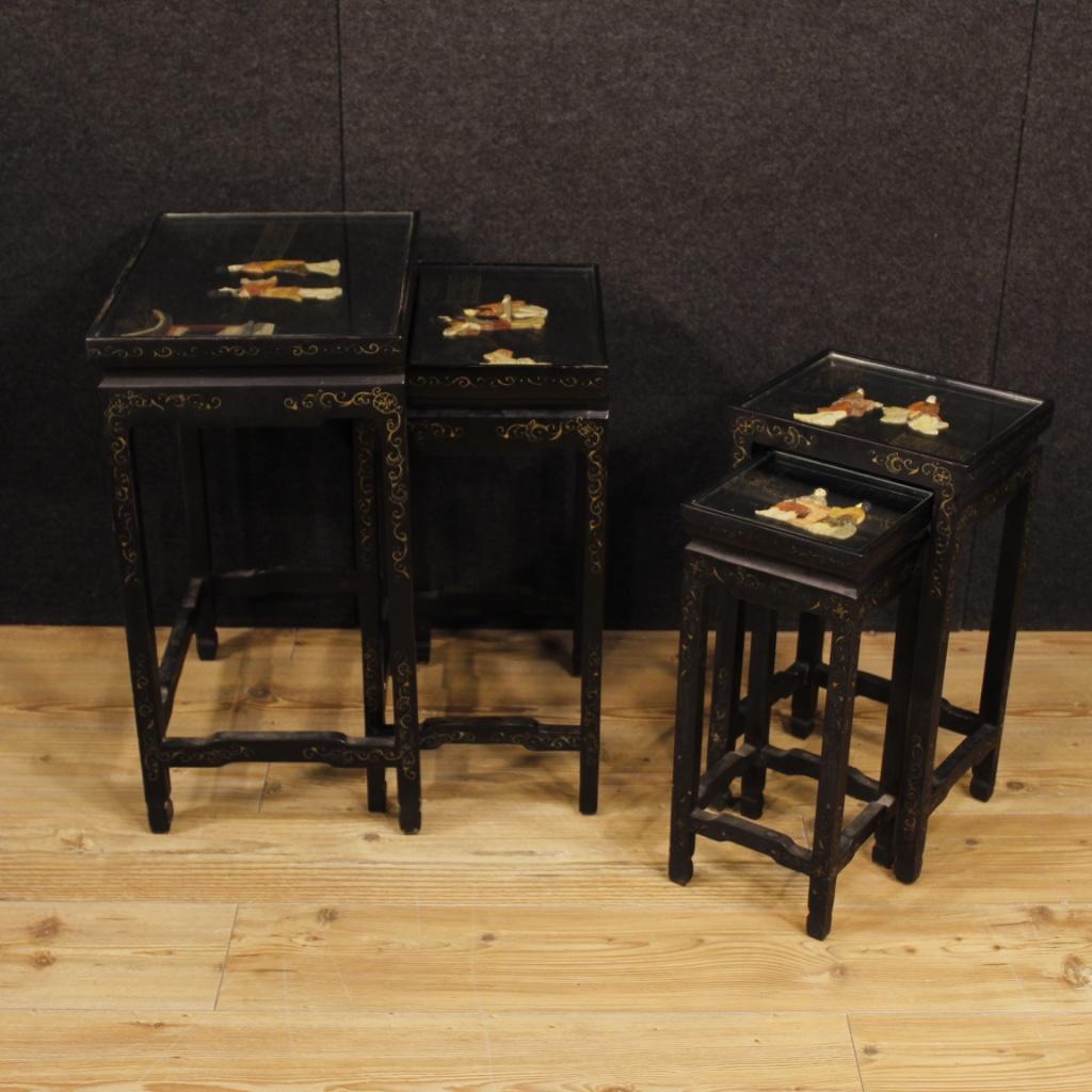 Set tavolini laccati cineseria mobili tavoli bassi da for Mobili bassi da salotto