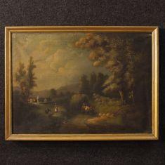 Quadro olio su tela con personaggi cornice dipinta epoca 800