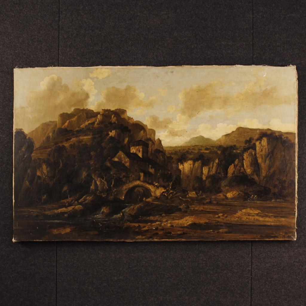 Peinture Paysage Huile Sur Toile Tableau Italien Personnages Ruines Style Ancien Ebay