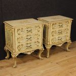 Pair of Italian lacquered and golden bedside tables