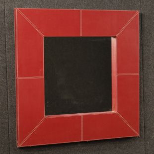 Italian design mirror in red faux leather