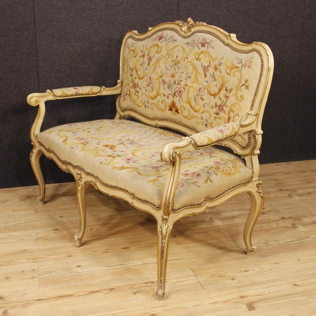Divano italiano laccato e dorato in stile Luigi XV - Vendita Online ...