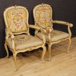 Pair of Italian lacquered armchairs in Louis XV style
