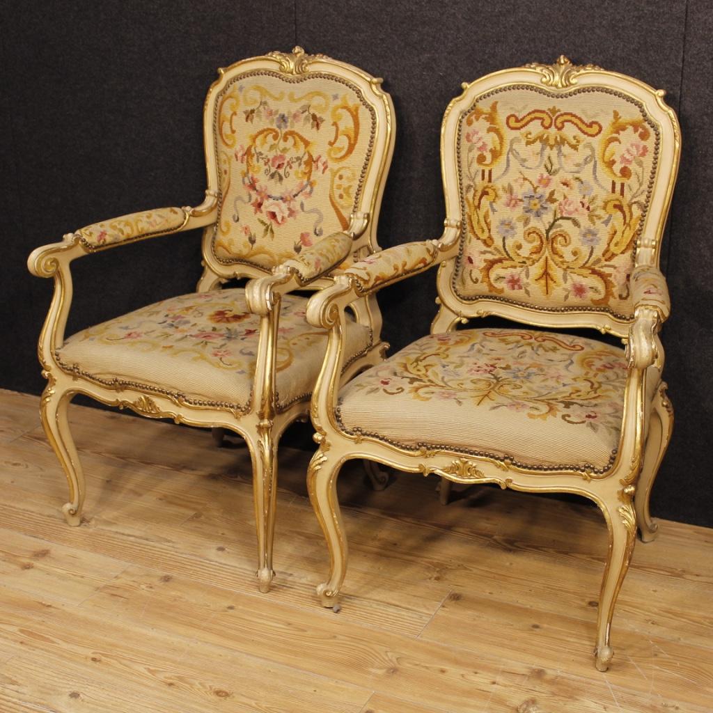 Paar Sessel Lackiert Mbel Italienisch Stuhl Holz Antik