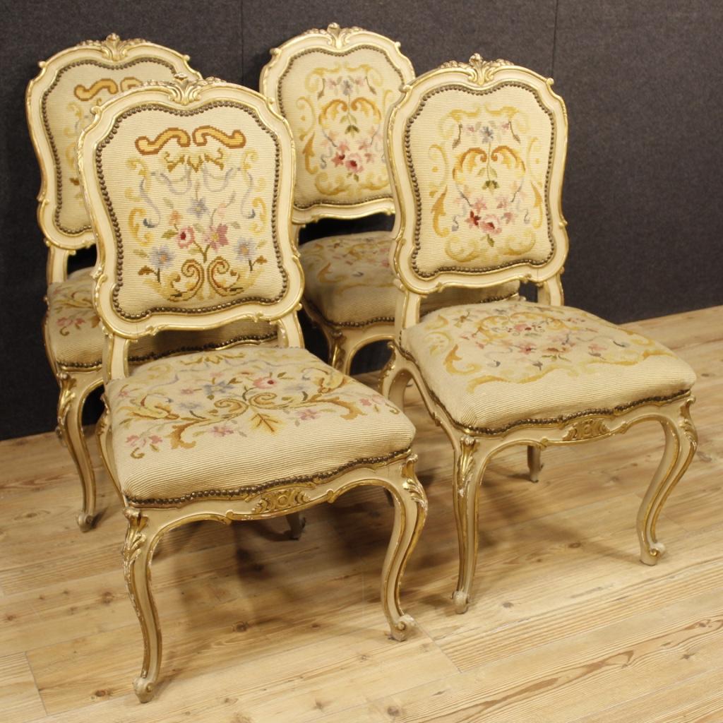 4 sedie italiane laccate e dorate in stile Luigi XV - Vendita Online ...
