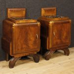 Pair of Italian bedside tables in Art Deco style in walnut with marble top