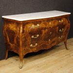 Italian inlaid dresser with marble top in Louis XV style