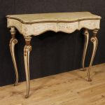 Italian lacquered, gilded and painted console with marble top