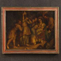 Quadro olio su tela cornice dipinta epoca 700