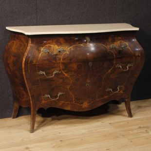 Italian inlaid chest of drawers with marble top
