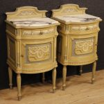 Pair of lacquered Italian bedside tables with marble top in Louis XVI style
