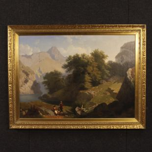 Antique Italian landscape painting signed by C. Piacenza and dated 1855