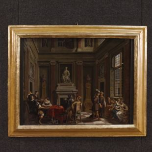 Antique Flemish interior scene painting from 17th century