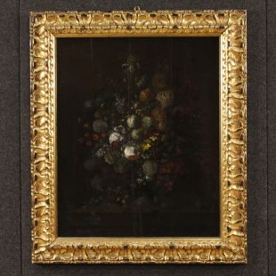 Antique Flemish still life painting from 17th century