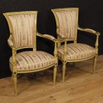 Pair of lacquered and painted French armchairs