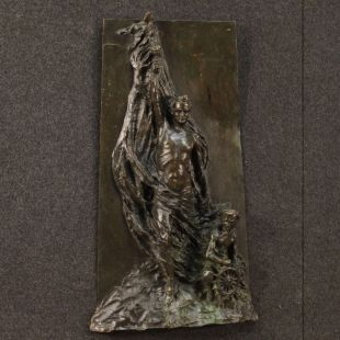 Italian abstract bronze sculpture signed and dated 1911