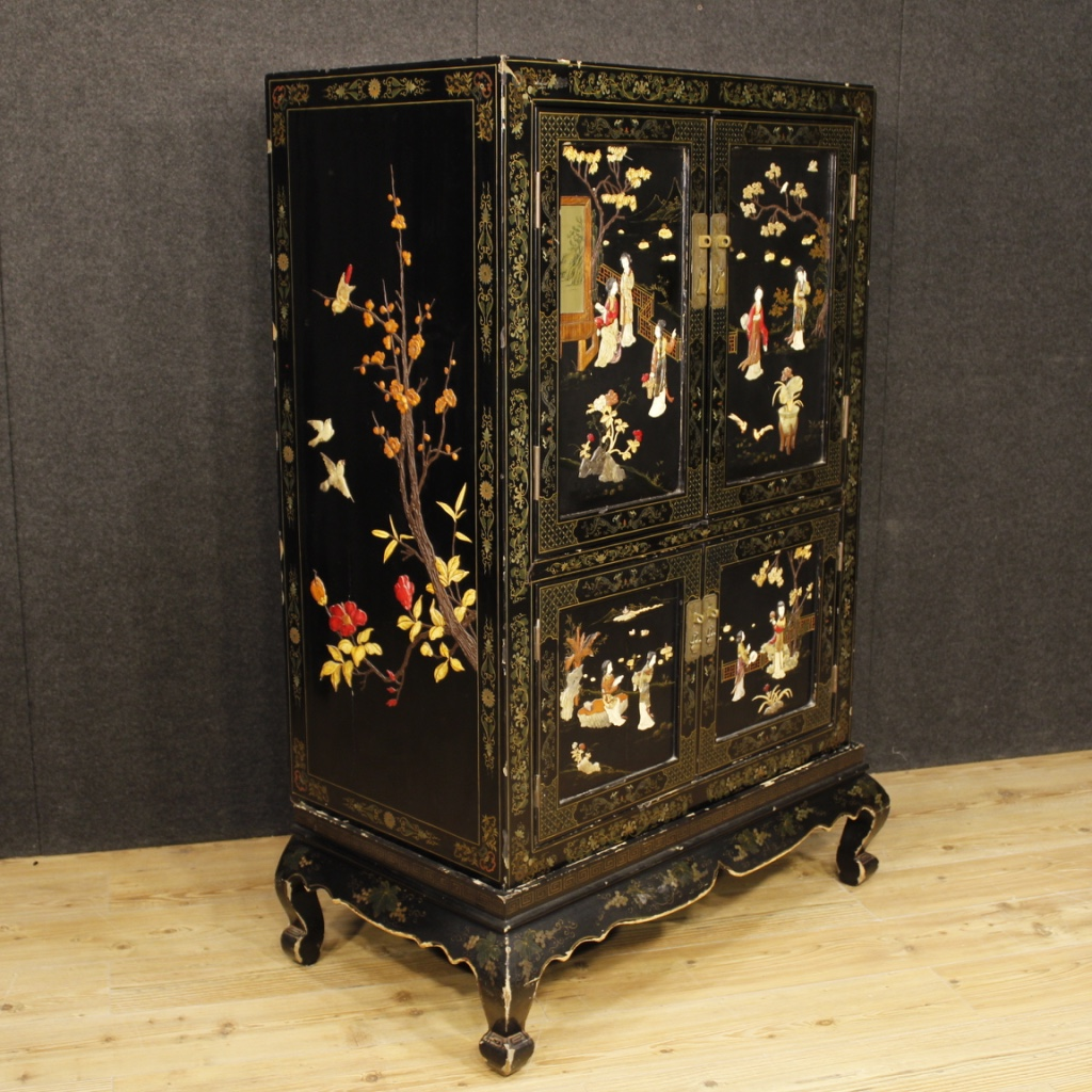 Credenza lacquered chinoiserie mobile french wooden 4 door antique style 900 ebay - Mobile credenza ...