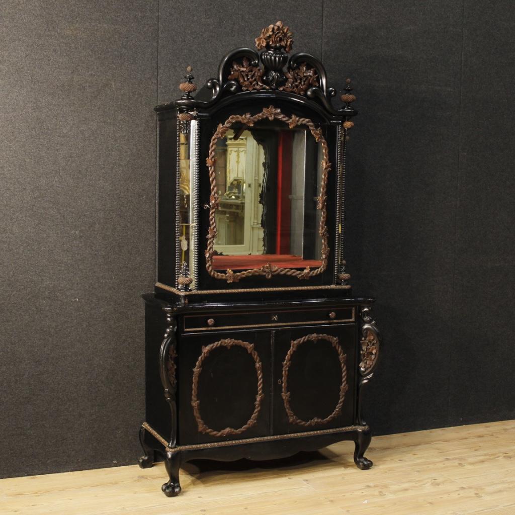 Credenza in legno mobile vetrina libreria olandese specchi 3 ante stile antico ebay - Ebay specchi antichi ...