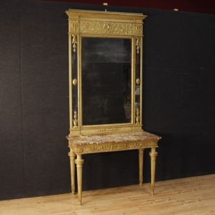 Italian lacquered and gilded console with mirror in Louis XVI style