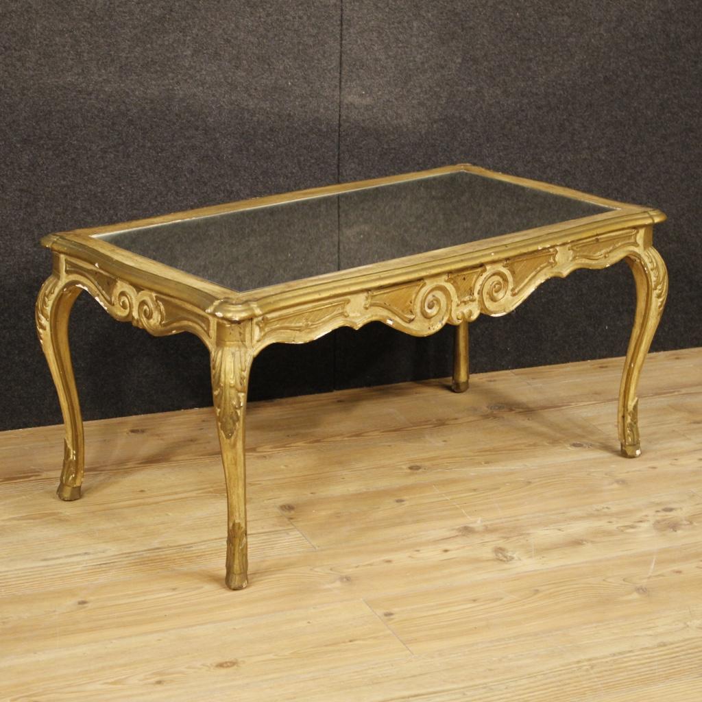 Tavolino da salotto tavolo basso legno dorato specchio for Specchio salotto
