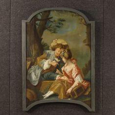 Quadro olio su tela con cornice dipinta epoca 800