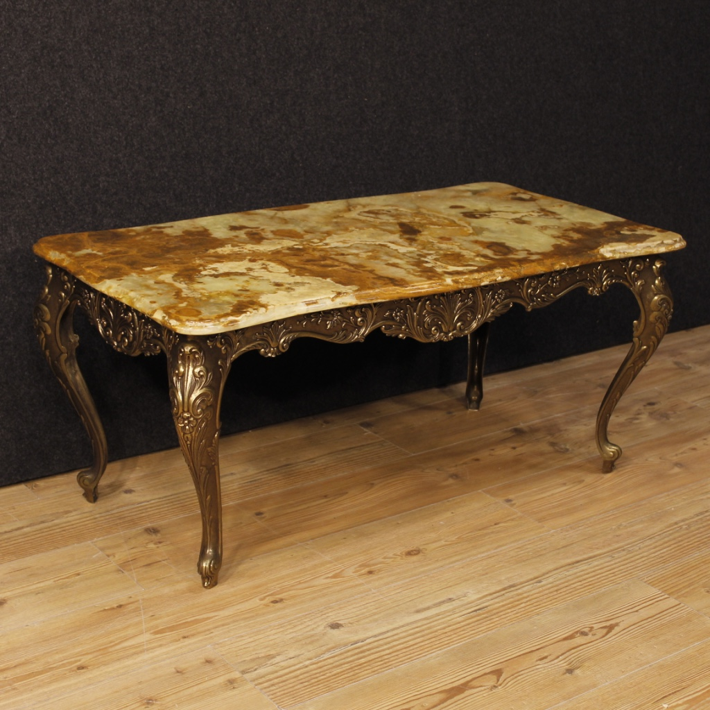 Say Coffee Table In French: French Coffee Table In Iron With Onyx Top