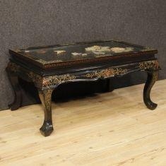 Tavolo basso da salotto in legno con pietre saponaria epoca 900