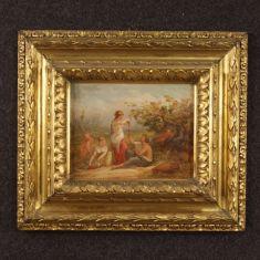 Quadro olio su tela scena romantica epoca 800