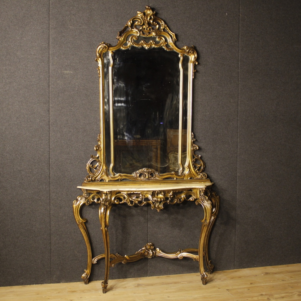 Italian Console Table With Mirror In Golden Wood